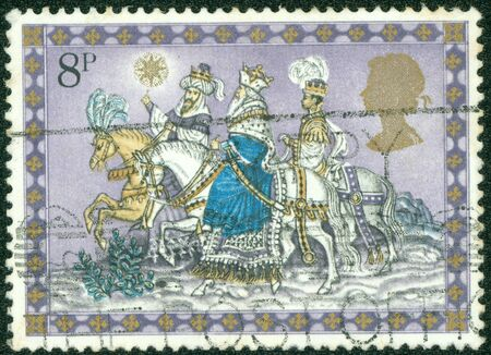 UNITED KINGDOM - CIRCA 1973  A stamp printed in England, shows Christmas  Three Kings Following Star, circa 1973 photo