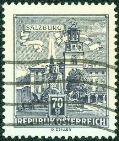 quo: AUSTRIA - CIRCA 1957  A stamp printed in Austria from the  Buildings  ;quo t; issue shows Archbishop s Palace, Salzburg, circa 1957