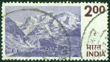 INDIA - CIRCA 1974  A stamp printed in India shows the Himalayas, circa 1974  photo