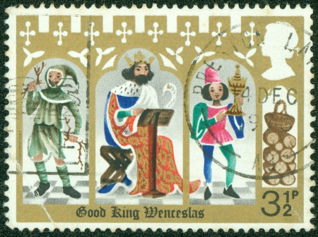 peasant: UNITED KINGDOM - CIRCA 1973  A stamp printed in England, is shown Illustrations for Christmas carol  Good King Wenceslas , Page and peasant, circa 1973