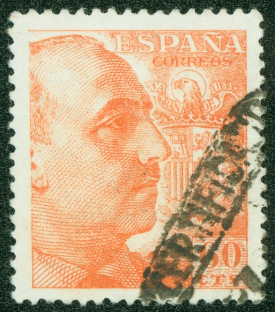 SPAIN - CIRCA 1957  A stamp printed in Spain showing an image of Francisco Franco, circa 1957  photo