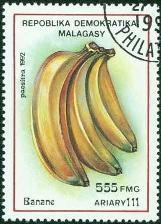 MADAGASCAR - CIRCA 1992  Postage stamps printed in Madagascar, is shown banana, circa 1992