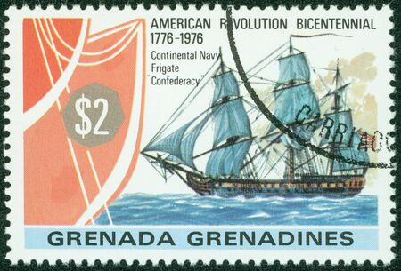 canceled: GRENADA - CIRCA 1976  A canceled stamp printed in Grenada shows image of the frigate Confederacy circa 1976