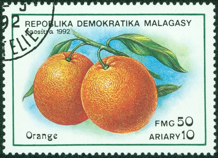 MADAGASCAR - CIRCA 1992  A stamp printed in Madagascar shows orange, circa 1992 Stock Photo