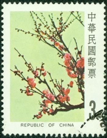 中国台湾の共和国 - 1984 A 切手が、台湾で印刷されたおよそおよそ 1984 年の梅の花のイメージを示しています