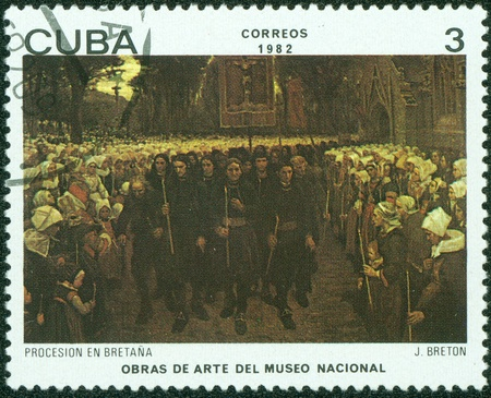 pageant: CUBA - CIRCA 1982  A stamp printed in Cuba shows the  Procession in Brittany , by Jules Breton, from the series  Paintings in the Natl  Museum of Art , circa 1982 Editorial