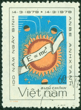 VIETNAM - CIRCA 1979  A stamp printed in Vietnam shows Albert Einstein s famous formula, series, circa 1979