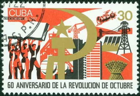 communists: CUBA - CIRCA 1977  A stamp printed in Cuba showing 60 anniversary of October Revolution , circa 1977 Editorial