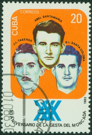 boris: CUBA - CIRCA 1983  stamp printed by Cuba, shows Abel Santamaria, Jose Luis Tasende and Boris Luis Santa Coloma, circa 1983  Editorial