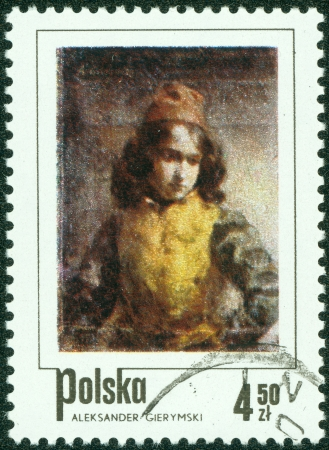 POLAND - CIRCA 1974  stamp printed by Poland, shows Florentine Page, by Aleksander Gierymski, circa 1974 Stock Photo - 15004218