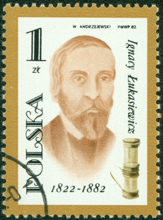 postmail: POLAND - CIRCA 1982  A post stamp printed in Poland shows portrait of Ignacy Lukasiewicz pharmacist , circa 1982