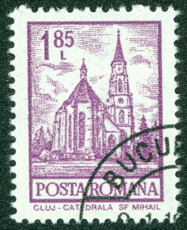 ROMANIA - CIRCA 1972  A stamp printed in Romania from the  Definitives I - Buildings  shows St  Mihail Cathedral, Cluj, circa 1972  Stock Photo - 15108435