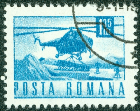 ROMANIA - CIRCA 1967  A stamp printed in Romania showing a Mil Mi-4 helicopter, circa 1967