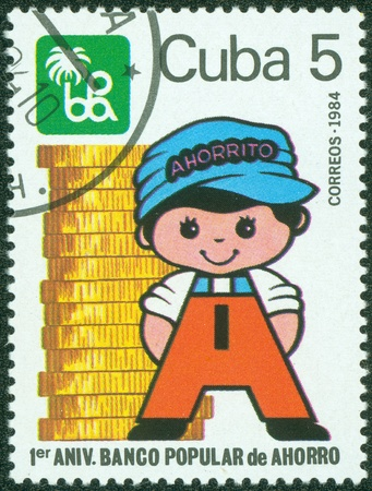 CUBA - CIRCA 1984; A canceled stamp printed in Cuba shows image of a figure on occasion of the anniversary of Banco Popular de Ahorro circa 1984