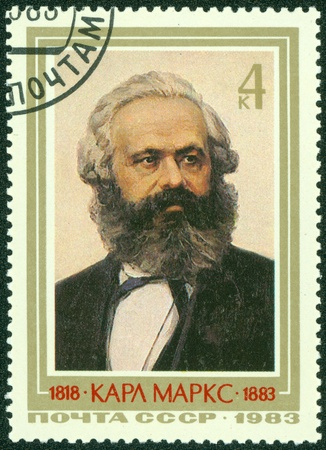 sociologist: USSR  CCCP  - CIRCA 1983  Mail stamp printed in the USSR  CCCP  featuring a portrait of socialist revolutionary Karl Marx, circa 1983 Editorial