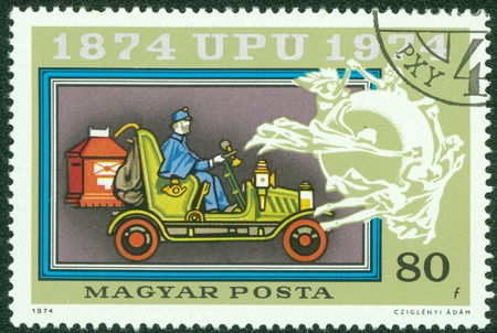 upu: HUNGARY - CIRCA 1974  A stamp printed in Hungary shows Mail coach and UPU Emblem, with the inscription  1874 UPU 1974 , from the series  Centenary of Universal Postal Union , circa 1974 Editorial