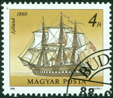 HUNGARY - CIRCA 1988  A stamp printed in Hungary a shows image of sailing ship, circa 1988 Stock Photo - 15108366