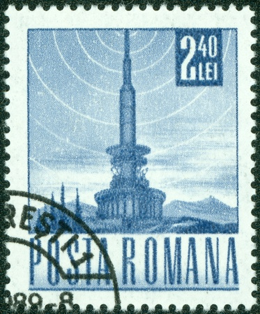 ROMANIA - CIRCA 1968  A stamp printed in the Romania, depicts a television tower and the the symbol of broadcast signal, circa 1968