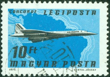 magyar posta: HUNGARY - CIRCA 1977  A stamp printed by Hungary, shows plane, circa 1977 Editorial