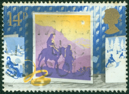quo: UNITED KINGDOM - CIRCA 1988  A stamp printed in Great Britain, shows Journey to Bethlehem, without inscription, from the series  Christmas quo t;, circa 1988