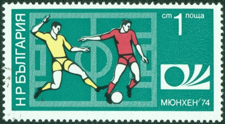 BULGARIA - CIRCA 1974  A Stamp printed in BULGARIA shows a football players and Munich  74 World Cup Emblem with the inscription  Munich  74 , from the series, Munich , circa 1974 Stock Photo - 15155745