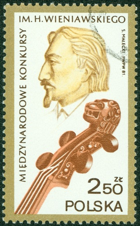 POLAND - CIRCA 1981  A stamp printed in the Poland shows Henryk Wieniawski, circa 1981 Stock Photo - 15155746