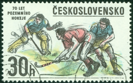 CZECHOSLOVAKIA - CIRCA 1978  A Stamp printed in Czechoslovakia shows image of Hockey, circa 1978 Stock Photo - 15175864