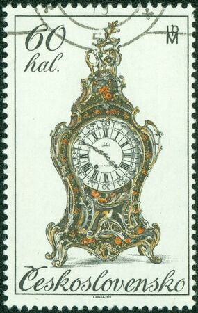 CZECHOSLOVAKIA - CIRCA 1979  A Stamp printed in CZECHOSLOVAKIA shows the old Clock, from the series  18th century clocks , circa 1979 photo
