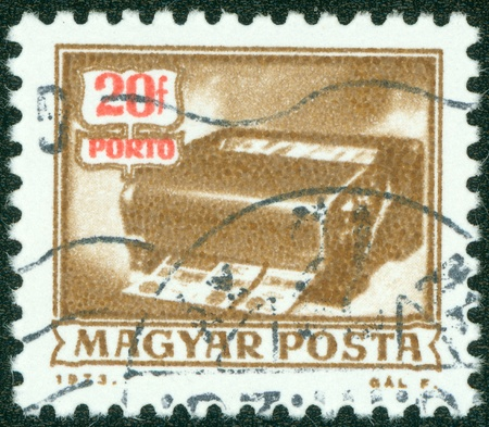 magyar posta: HUNGARY - CIRCA 1973  A stamp printed in Hungary shows Money order Canceling Machine, without inscription, from the series  Postal Operations , circa 1973