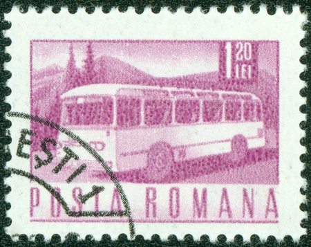 motorcoach: ROMANIA - CIRCA 1968  A stamp printed in the Romania, depicts the postal bus, circa 1968