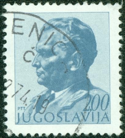 YUGOSLAVIA - CIRCA 1974  A stamp printed in Yugoslavia shows portrait of Marshal Josip Broz Tito, circa 1974 Stock Photo - 15156976
