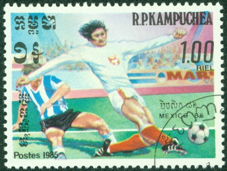 R P KAMPUCHEA-CIRCA 1985  Postage stamps printed in R P  Kampuchea, is devoted to the Football Championship in Mexico-86, circa 1985 Stock Photo - 15245988
