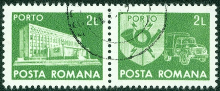 ROMANIA - CIRCA 1967  A stamp printed in Romania shows Central Post Office building  National museum of Romanian history now , circa 1967  Stock Photo - 15245976