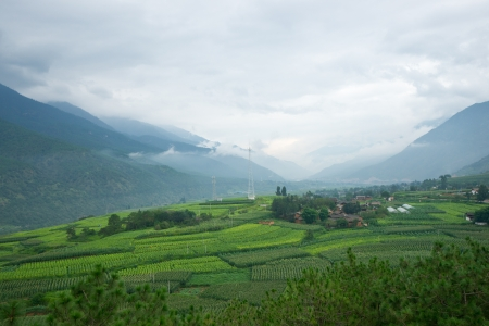Landscape of  village in rural area of Shangri-La county,Yunnan province, China photo