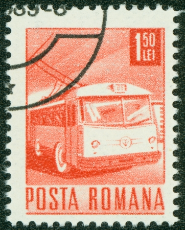 ROMANIA - CIRCA 1967  A stamp printed in Romania shows a Trolley bus, circa 1967  Stock Photo - 15294888