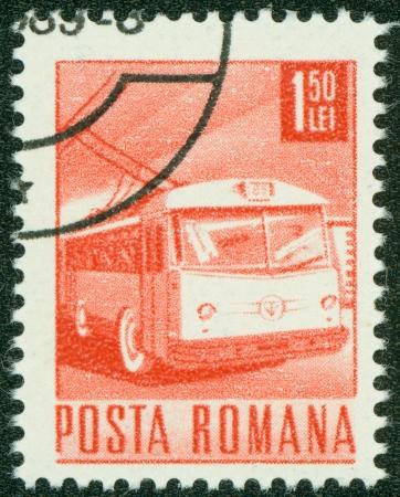 ROMANIA - CIRCA 1967  A stamp printed in Romania shows a Trolley bus, circa 1967  Stock Photo - 15294888