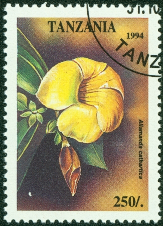 TANZANIA - CIRCA 1994  A stamp printed in Tanzania shows tropical flowers, circa 1994