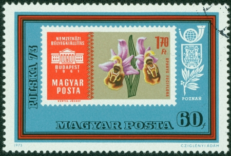 HUNGARY - CIRCA 1973  stamp printed by Hungary, shows stamp with flower, circa 1973 Stock Photo - 15294966