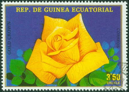 EQUATORIAL GUINEA - CIRCA 1977  A stamp printed in Equatorial Guinea shows Gold Crown, series is devoted to roses, circa 1977