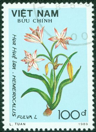 VIETNAM - CIRCA 1989  A stamp printed in VIETNAM shows image of flower, circa 1989 photo