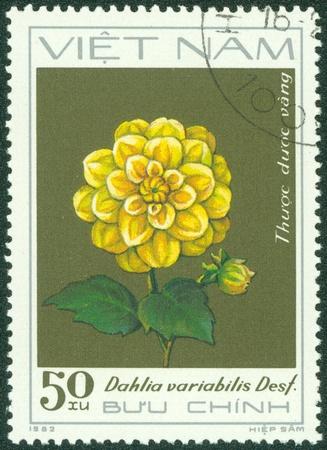 VIETNAM - CIRCA 1982  A stamp printed inVIETNAM shows Yellow dahlia, circa 1982