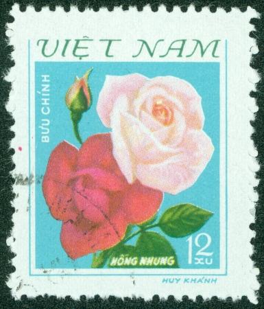 ベトナム - ベトナムで印刷される 1974 A スタンプ年頃に示します花、1974 年頃