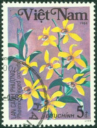 VIETNAM - CIRCA 1984  A stamp printed in VIETNAM shows a flowers, series plants, circa 1984