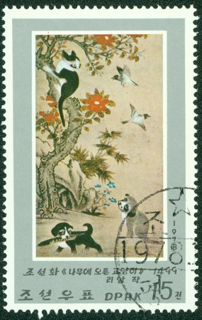 DPR KOREA - CIRCA 1978  A stamp printed in North Korea shows draw by artist Ame Lee, circa 1978