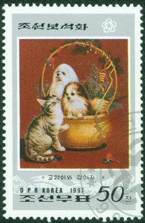 KOREA - CIRCA 1997  A stamp printed in Korea showing pets, circa 1997