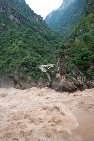 steep cliff sign: Tiger Leaping Gorge in Lijiang, Yunnan Province, China
