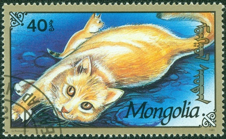 MONGOLIA - CIRCA 1991  stamp printed by Mongolia, shows cat, circa 1991 Stock Photo - 15854966