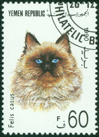 YEMEN - CIRCA 1990  A stamp printed in Yemen shows Persian cat , circa 1990