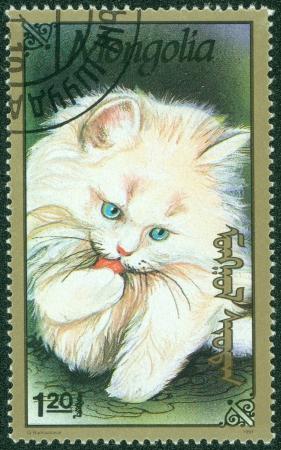 MONGOLIA - CIRCA 1991  stamp printed by Mongolia, shows cat, circa 1991 Stock Photo - 15854907