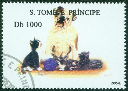 S  TOME E PRINCIPE - CIRCA 1995  A stamp printed in S  Tome e Principe showing Bulldog with cats, circa 1995